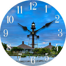 "Wood Wall Clock Sanibel Lighthouse 13""X13"" Home Wall Decor Coastal Beach New"