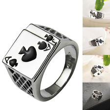 Stainless Steel Mens Women Fashion Casino Poker Ring Poker Card Rings Gifts 17mm
