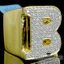 MEN'S NEW YELLOW GOLD OVER STERLING SILVER A++ CZ'S LETTER B INITIAL RING BAND