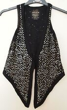 RIVER ISLAND BLACK KNIT SEQUIN GOLD SEQUINS PARTY JUMPER WAISTCOAT GILLET 8 S