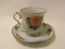 Tienshan Fine China Footed  Cup and Saucer Set  Rose Pattern Gold Trim   # YS