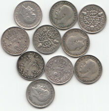 GEORGE V 10 Silver Threepence - Mixed dates 1911 to 1936 (10 different dates)