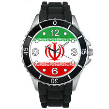 Islamic Republic Of Iran Flag Mens Ladies Black Jelly Silicone Wrist Watch S434E