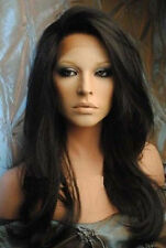 Soft Indian Remy Black Long Cosplay Wig Straight Lace Front Wigs Hair