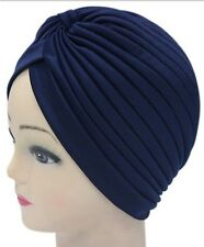Admiring Unisex Indian Style Stretchable Turban Hat Hair Head Wrap Cap Navy Blue