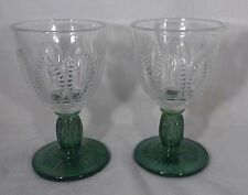Pair Pressed Glass Goblets Clear Top Green Stem & Base Beaded Design Sides Nice