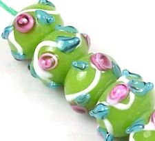 "Lampwork Handmade ""Chateau Rose"" Rondelle Beads Green 6"