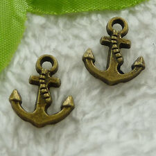free ship 200 pcs bronze plated anchor charms 17x15mm #3101