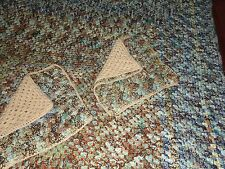 CUSTOM CROCHETED KNITTED BLUE & BROWN & CAMEL HEAVY (3PC) KING BEDSPREAD 126""