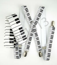 "Mens White Musical Notes 2"" Skinny Neck Tie Black Piano Suspender Set SDNT082"