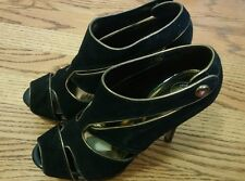 "Baby Phat Black & Gold Suede Pumps 5"" High Heels Booties Women's Shoes Size 7.5"