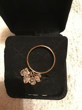 Unique 14 K Yellow Gold Five Heart Shaped CZ Dangle Charm Band Ring Size 9