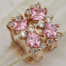 Lovely Nice Pink & White Gems Jewelry Rose Gold Filled Huggie Earrings E2560-17