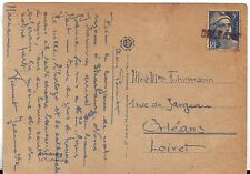 Orleans France after WWII Cover uncommon linear cancel continental size postcard