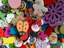 JOB LOT 50 Assorted wooden buttons/ embellishments/beads sewing,scrapbooking etc