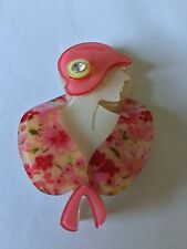 SUMMERY PINK SHADES FLORAL LUCITE? ART DECO LADY BROOCH