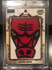 2015 Hits Memorabilia MICHAEL JORDAN Game Used Bulls Face Logo Jersey Patch 1/1