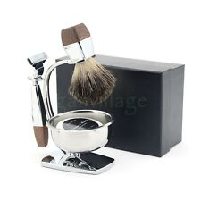 ZY Shaving Set Badger Hair Brush Mug Alloy Stand +  Cartridge Razor Gift for Men