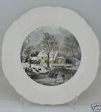 VINTAGE DELANO STUDIOS PLATE AMERICANA WINTER PASTIME COUNTRY SITE MILL