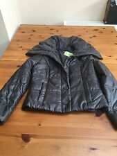 Marks And Spencer Bnwt Size 12 Grey Shiny Puffer Padded Jacket Big Collar