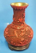 "7"" Wooden Chinese Cinnabar Lacquered Vase Carved Flower Bird Design with Stand"