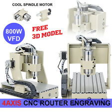 US 800W 4 axis cnc wood router engraver machine CNC router bits ball screw Mach3