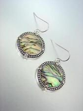 NEW Brighton Bay Silver Dots Texture Mother of Pearl Shell CZ Crystals Earrings