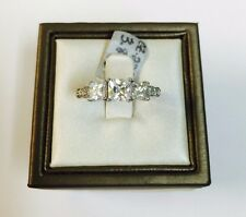 14K White Gold Fancy three-stone princess/square Cubic Zirconia engagement ring