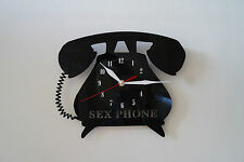 Sex phone design vinyl record wall clock [ black gloss sticker ] office home ar