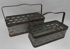 Set of 2 Galvanized Metal Industrial/Rustic Finish Garden Tote Storage Container