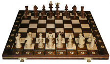 """SENATOR PLAYERS WOOD WEIGHTED CHESS SET - BROWN - 6"""" FOLDING BOARD - 3 3/4"""" KING"""