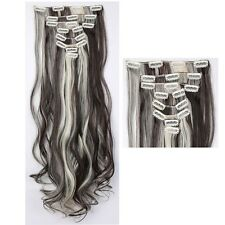 "24"" Girls Thick Full Head Clip in Curly Hair Extensions Blonde Brown 4AP613 fo"