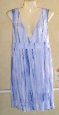 J Valdi Tie Dye Beach Swim Cover Up Slinky RAYON Double V Sleeveless BLUES XL