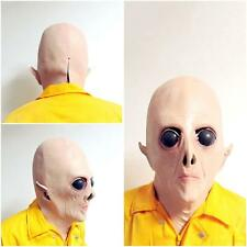 Realistic UFO Alien Head Mask Latex Creepy Halloween Costume Party Cosplay Mask