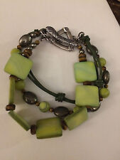 SILPADA B1132 Sterling Silver Green Mother-of-Pearl Tiger's Eye Pyrite Bracelet