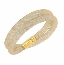 GOLD SHADOW with GOLD CLASP DOUBLE WRAP STARDUST MESH MAGNETIC CRYSTAL BRACELET