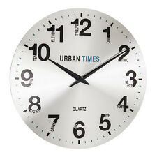 LC Designs Large Brushed Metal Contemporary Urban Times Wall Clock, 42cm