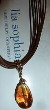 "LIA SOPHIA ""BUONA SERA'"" NECKLACE - AMBER RESIN/LEATHER CORD - 2007"