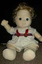 Mattel 1985 MY CHILD doll blond curly hair boy girl overalls outfit