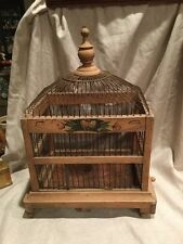 VINTAGE ANTIQUE ART DECO WOODEN BIRD CAGE AWESOME