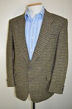 "vtg HARRIS TWEED WOOL DOGTOOTH COUNTRY HAND WOVEN SMART JACKET BLAZER 40"" SHORT"