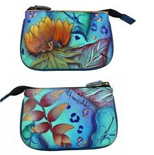 ANUSCHKA LEATHER ~BLUE #1107-TRD MEDIUM COIN PURSE NWT