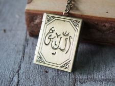 Elegant Book of Quran Vintage Brass Picture Locket Charm Pendant Necklace