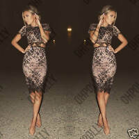 Womens Black Lace Nude Two Piece Party Evening Cocktail Bodycon Midi Dress Set