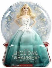 Mattel - 2016 Holiday Barbie Blond im grünen Kleid, Collector, Neu, DGX98