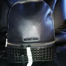 MICHAEL KORS BACKPACK BAG RHEA SMALL STUDDED LEATHER BLACK NEW with TAG