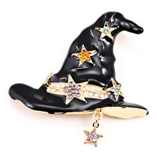 Halloween Pointed Hat Pixie Witch Wizard Gold Star Cool Fun Brooch Pin Gift