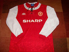1992 1993 Manchester United Prototype L/s Football Shirt Top Jersey Man Utd U XL