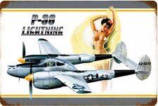 P-38 Lightning Nude Pin-Up  Metal Sign
