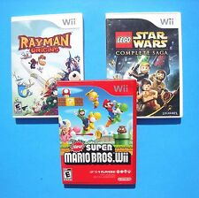 Wii Game Lot ~ NEW MARIO BROS. ~ Lego Star Wars - Complete Saga ~ RAYMAN ORIGINS